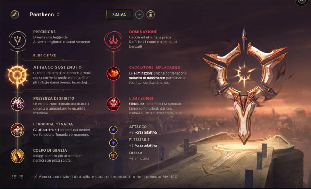 Pantheon build rune LoL Battle Academia
