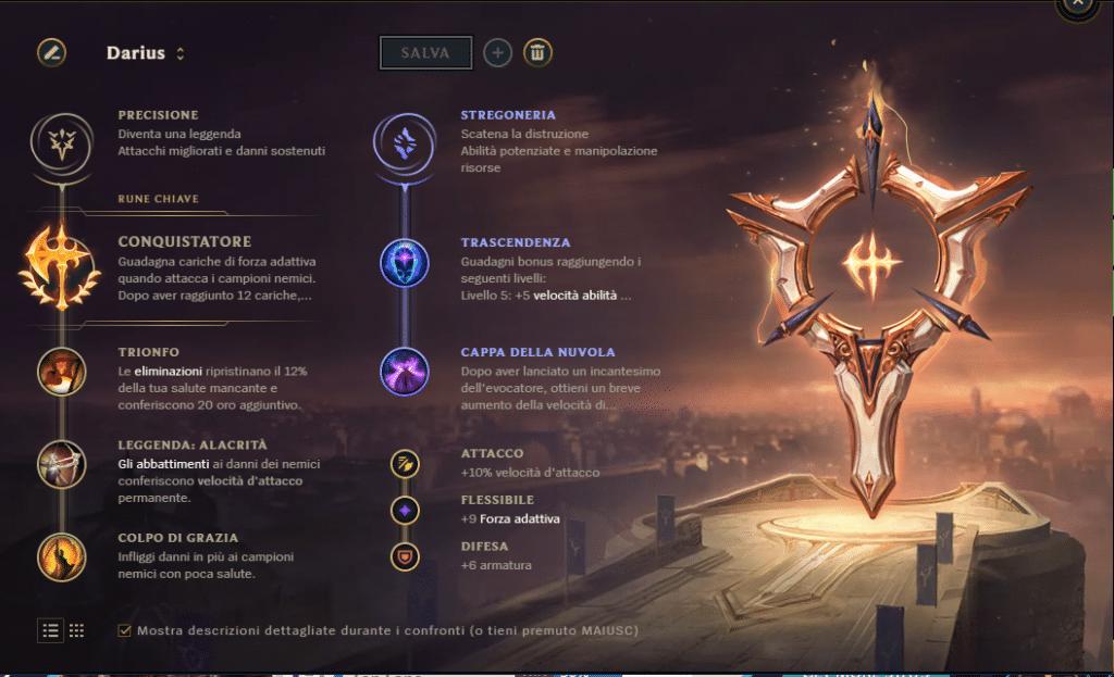 Darius build rune Conquistatore
