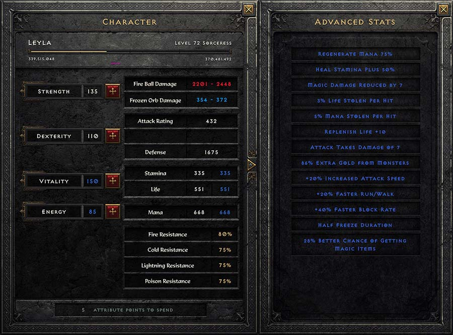 diablo 2 remastered advanced stats