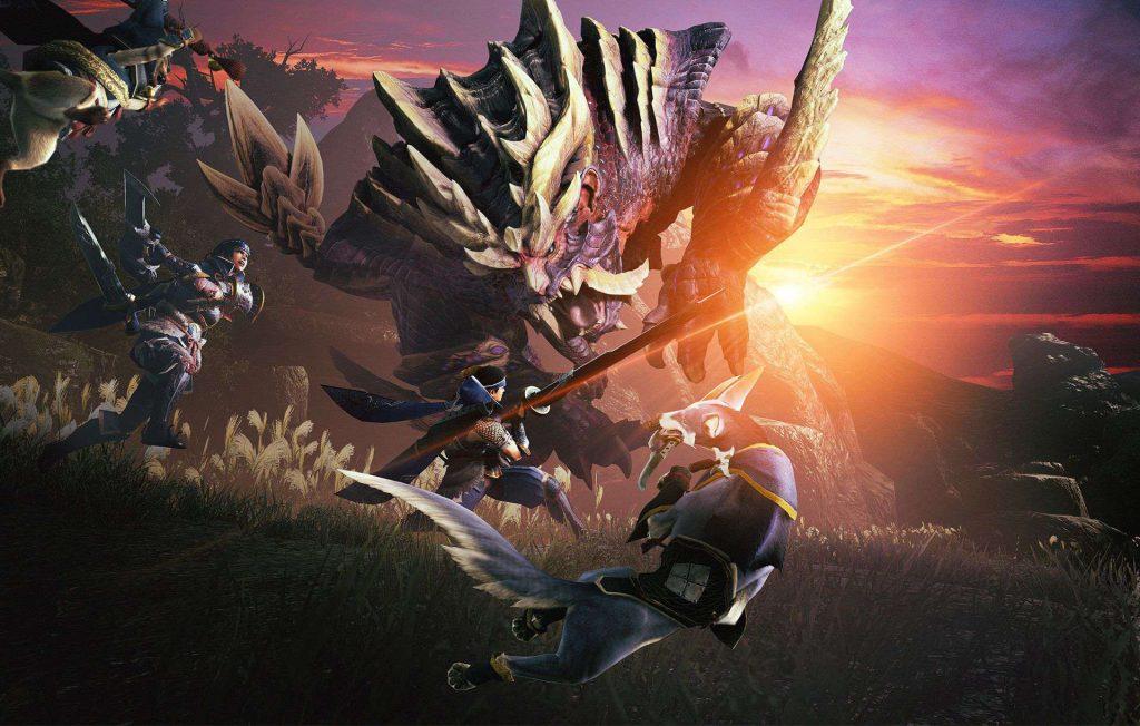 monster hunter rise demo magnamalo cacciatore tramonto