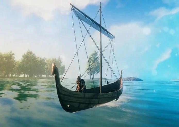 sci nautico valheim barca personaggio alberi