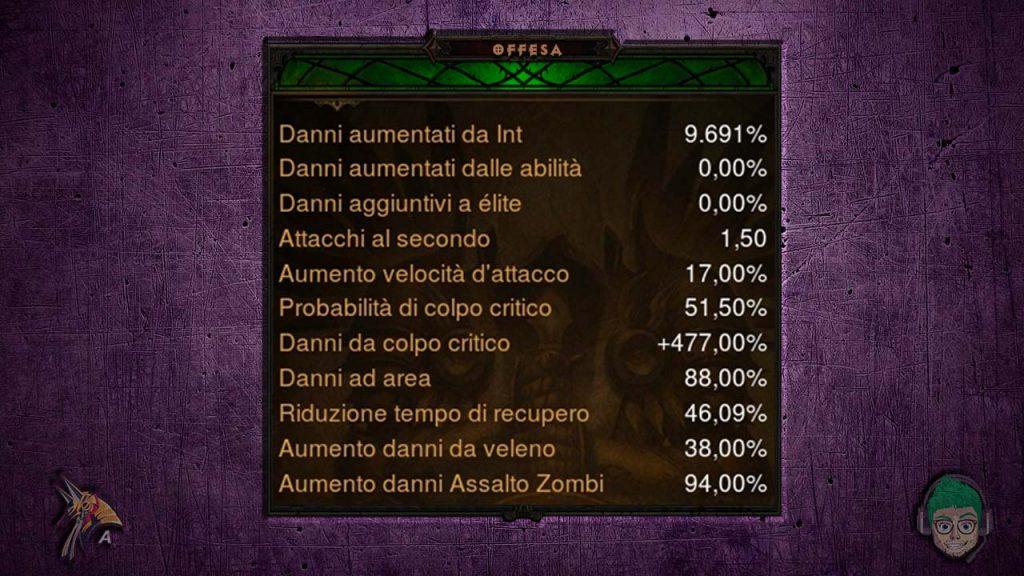 Diablo road to 100 sciamano set zanna infernale assalto zombi stats