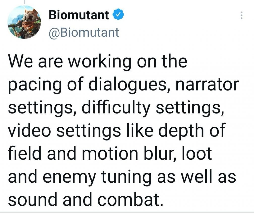 Biomutant tweet patch info