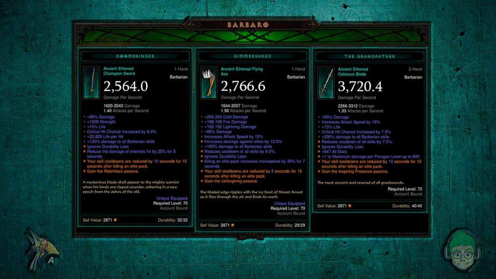 eterei di Diablo 3 Barbaro