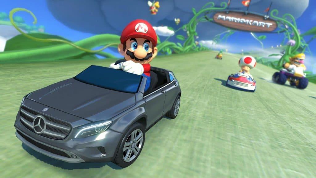 pubblicità nei videogiochi mario kart 8 mercedes