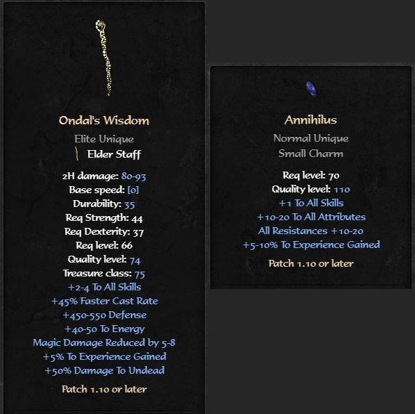 livellare velocemente in Diablo 2 Resurrected Ondal Wisdom Annihilus